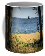 Sandy Pt Shoal Lighthouse And Blue Heron Coffee Mug