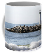 Santa Cruz Lighthouse Wave Wide Coffee Mug by Barbara Snyder
