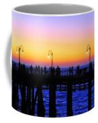 Santa Monica Pier Sunset Silhouettes Coffee Mug