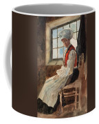 Scandinavian Peasant Woman In An Interior Coffee Mug by Alexandre Lunois