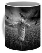 Scarecrow And Black Crows Over A Cornfield Coffee Mug