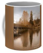 Scenic Golden Wooden Bridge Tree Reflection On The Deschutes River Coffee Mug