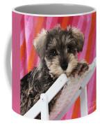 Schnauzer Puppy Looking Over Top Coffee Mug