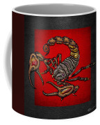Scorpion On Red And Black Leather Coffee Mug