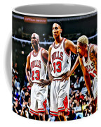 Scottie Pippen With Michael Jordan And Dennis Rodman Coffee Mug by Florian Rodarte
