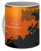 Abstract Tropical Birds Sunset Large Pop Art Nouveau Landscape 4 - Right Side Coffee Mug