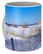 Sea Oats And Fence Along White Sand Coffee Mug