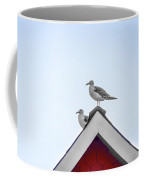 Seagulls Perched On The Rooftop Coffee Mug