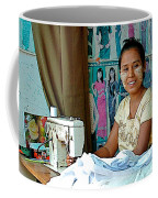 Seamstress At Her Sewing Machine In Tachilek-burma Coffee Mug