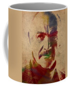 Sean Connery Actor Watercolor Portrait On Worn Distressed Canvas Coffee Mug