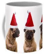 Seasons Greetings Christmas Caroling Pug Dogs Wearing Santa Claus Hats Coffee Mug