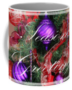 Seasons Greetings - Greeting Card - Purple - Red - Gold Coffee Mug