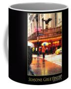 Season's Greetings - Yellow And Blue Umbrella - Holiday And Christmas Card Coffee Mug