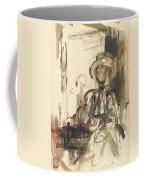Seated Figure Woman Seated, Wearing Coffee Mug