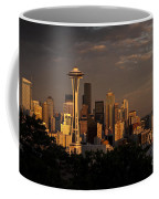 Seattle Skyline With Space Needle And Stormy Weather Coffee Mug