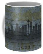 Seattle Washington City Skyline Silhouette Distressed On Worn Peeling Wood Coffee Mug