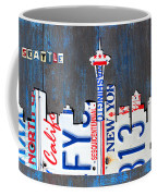 Seattle Washington Space Needle Skyline License Plate Art By Design Turnpike Coffee Mug by Design Turnpike