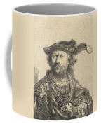 Self Portrait In A Velvet Cap With Plume Coffee Mug by Rembrandt