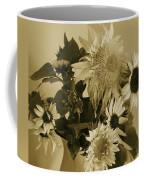 Sepia Garden Sunflower Bouquet Coffee Mug