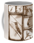 Sepia Hummingbird Collage Coffee Mug