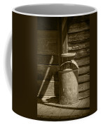 Sepia Photograph Of Vintage Creamery Can By The Old Homestead In 1880 Town Coffee Mug