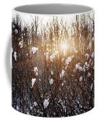 Setting Sun In Winter Forest Coffee Mug
