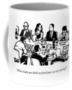 Seven People Are Seen Sitting At A Table Coffee Mug