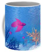 Several Red Betta Fish Swimming Coffee Mug