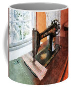 Sewing Machine Near Lace Curtain Coffee Mug