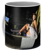 Sexy 1940s Style Pin-up Girl Sitting Coffee Mug by Christian Kieffer