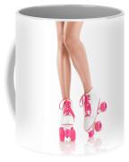 Sexy Girl Legs In White Pink Roller Skates Coffee Mug
