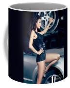 Sexy Mechanic Girl Posing With Cars Coffee Mug