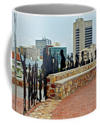 Shadow Representations Of People Coming To The Port In Donkin Reserve In Port Elizabeth-south Africa   Coffee Mug