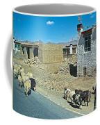 Sheep And Shepherd Along The Road To Shigatse-tibet Coffee Mug