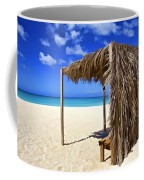 Shelter On A White Sandy Caribbean Beach With A Blue Sky And White Clouds Coffee Mug