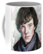 Sherlock Holmes Portrait Benedict Cumberbatch Coffee Mug by Olga Shvartsur
