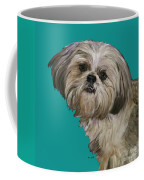 Shih Tzu On Turquoise Coffee Mug