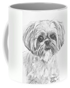 Shih Tzu Portrait In Charcoal Coffee Mug by Kate Sumners