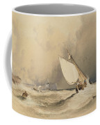 Ships At Sea Off Folkestone Harbour Storm Approaching Coffee Mug