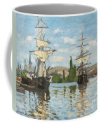Ships Riding On The Seine At Rouen Coffee Mug by Claude Monet