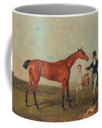 Shoveller Held By Her Trainer Will Chifney Coffee Mug by Benjamin Marshall
