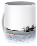Shrimpers With Pelicans - Waiting On Shore Coffee Mug