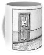 Shut Door In A Hallway With A Sign That Read Gone Coffee Mug
