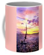 Silhouette Of Boat And Sailors On Torch Lake Michigan Usa Coffee Mug
