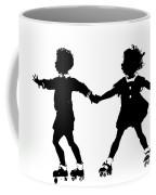 Silhouette Of Children Rollerskating Coffee Mug