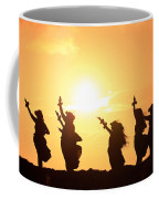 Silhouette Of Hula Dancers At Sunrise Coffee Mug