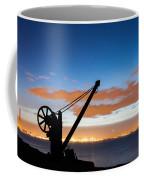 Silhouette Of The Davit In Dublin Port Coffee Mug by Semmick Photo