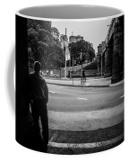 Silhouetted Man Leans Black And White Coffee Mug