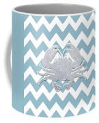 Silver Glitter Crab Silhouette - Chevron Pattern Coffee Mug