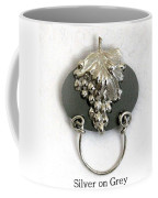 Silver Grapes On Grey Coffee Mug